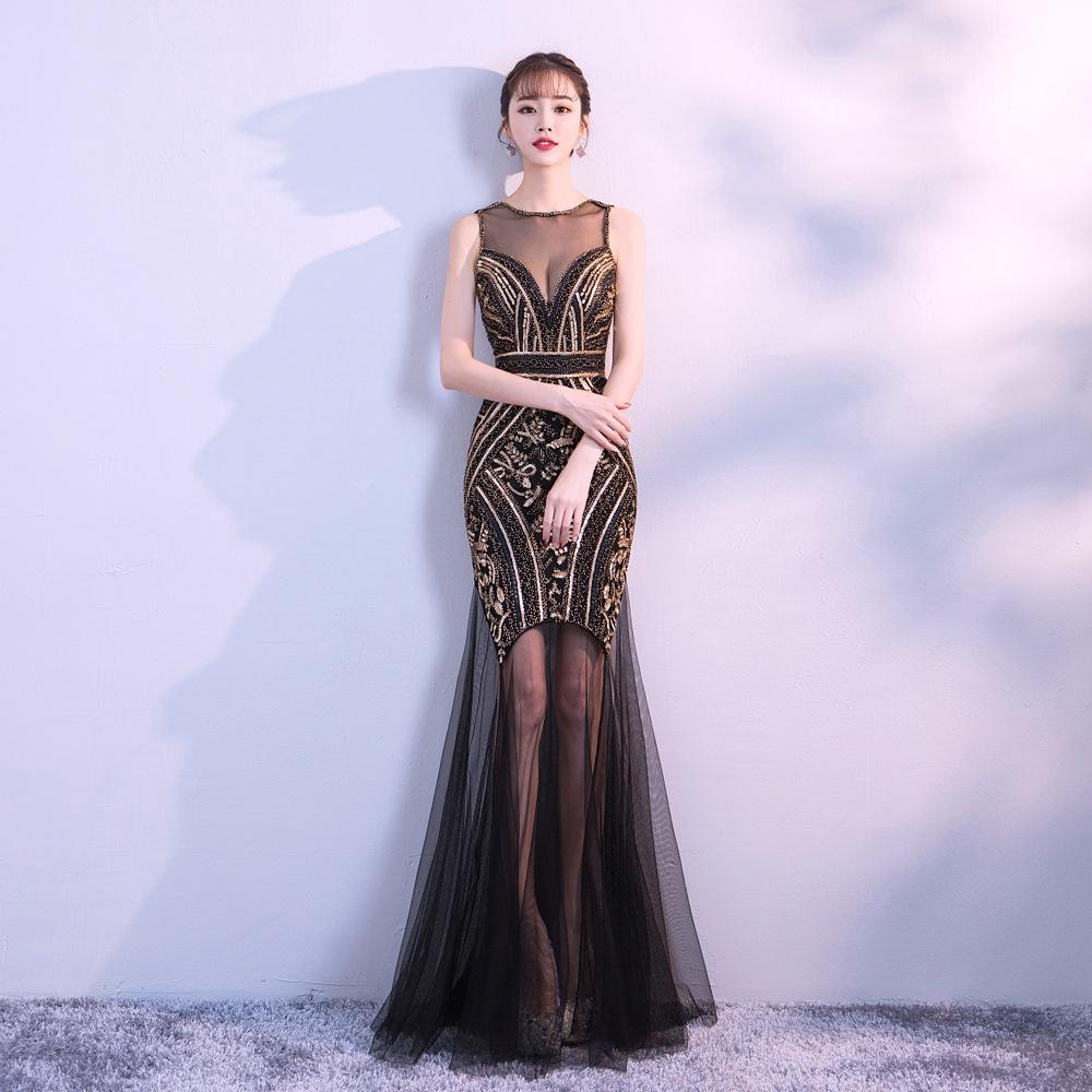 5e8555416f Big Nail-pearl Sequin Dress Banquet Evening Dress Fishtail 2018 New Dress  Dress