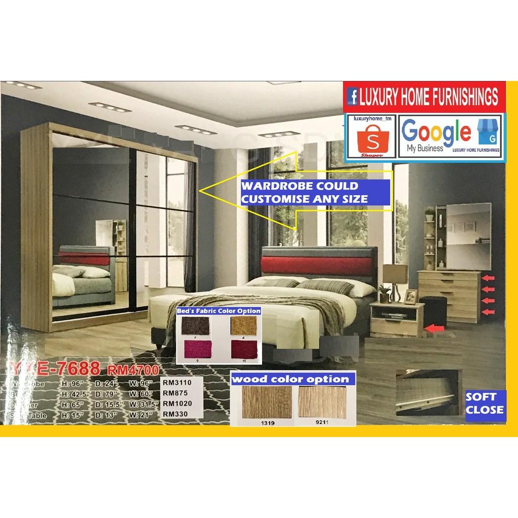 BED ROOM SET, 8'X8' SLIDING DOORS, MODERN DESIGN, MELAMINE SERIES, FULL SET