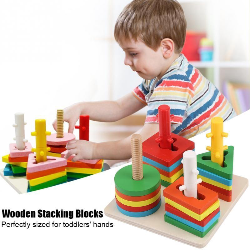 Wooden Puzzle Toys Educational Kids Toddler Learning Building Stacking Block S