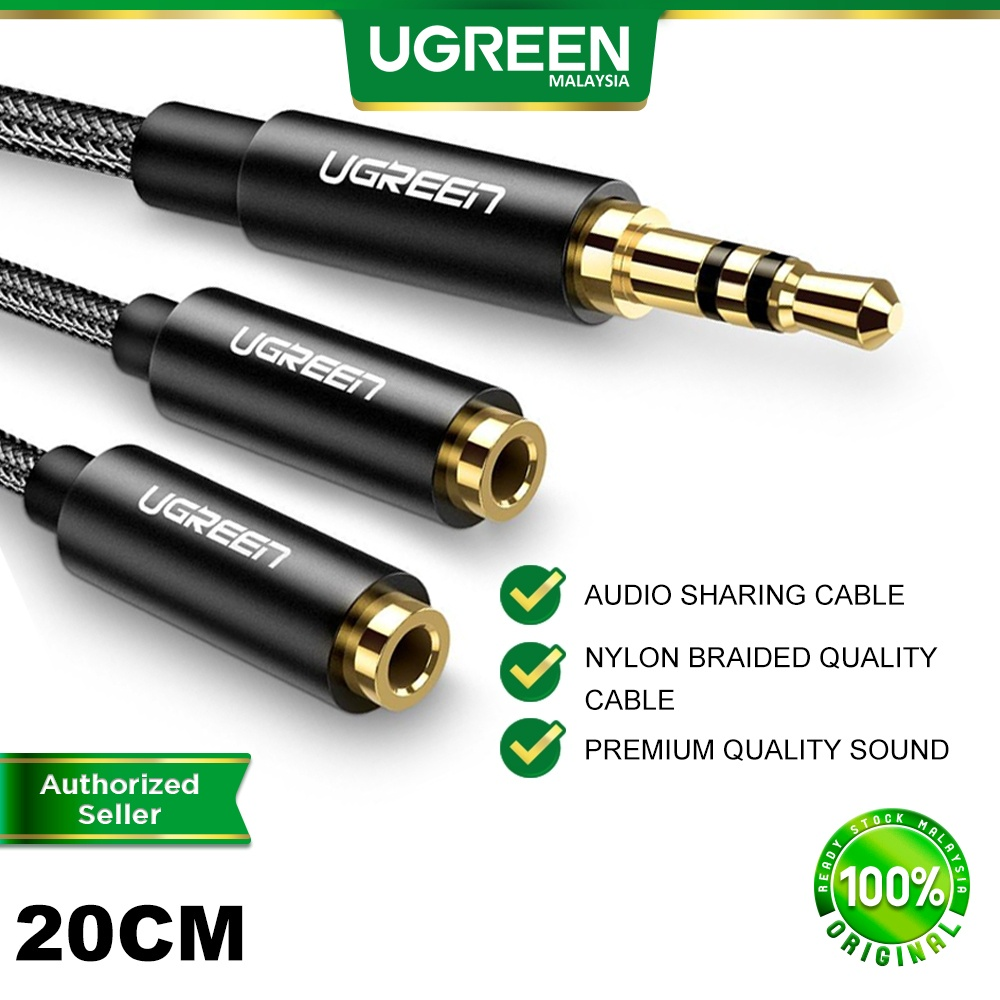 UGREEN Headphone Y Audio Jack Splitter Extension Cable 3.5mm Male to 2 Port 3.5mm Female for MP3 PC Tablet Speaker
