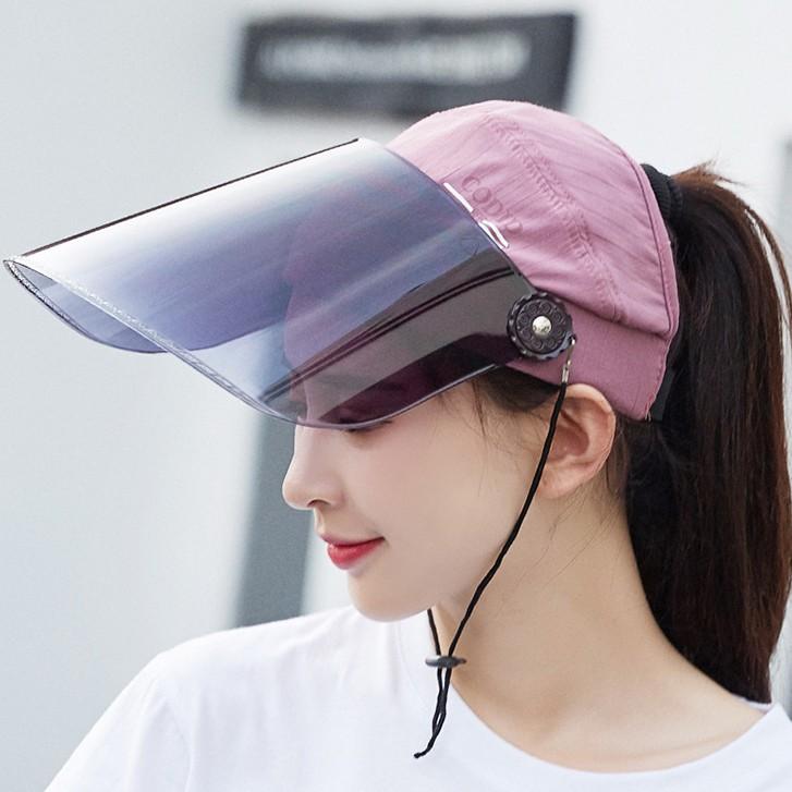 หมวกกันไวรัส ปรับลงเป็น Face Shield กันละอองน้ำลาย ปรับขึ้นเป็น หมวกกันแดด กัน UV กันได้ทั้งหน้า ปรับได้ 360