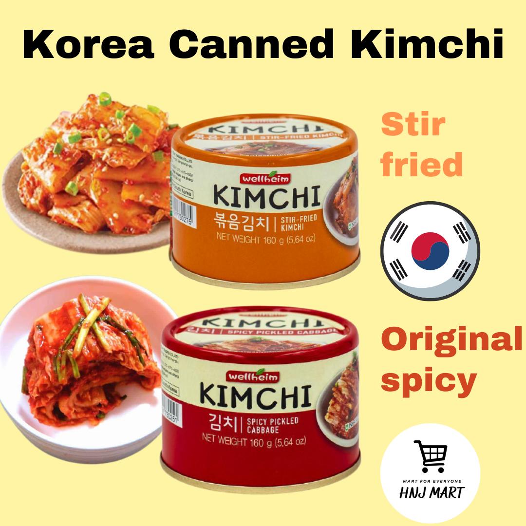 Korea Canned Kimchi【2 flavours】Stir-fried Kimchi/Original Spicy Pickled Cabbage Kimchi 160g 韩国炒泡菜