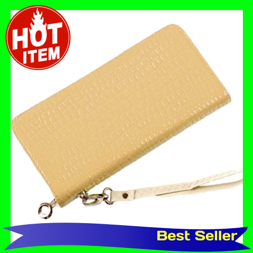 New Fashion Women Long Purse Stone Pattern Patent PU Leather Candy Color Coin Card Wallet Wristlet Bag (Beige)