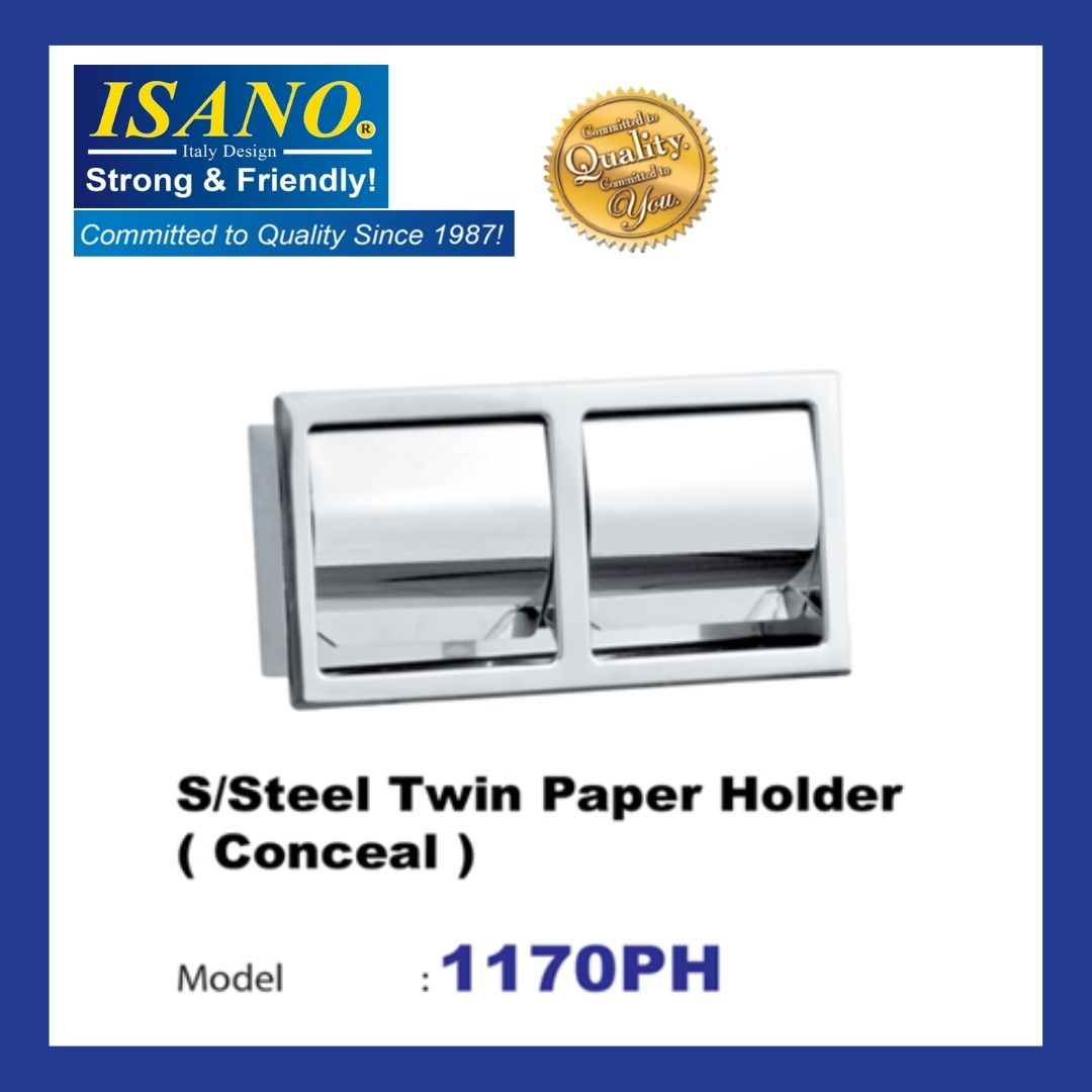 ISANO 1170PH Stainless Steel Twin Paper Holder - CONCEAL