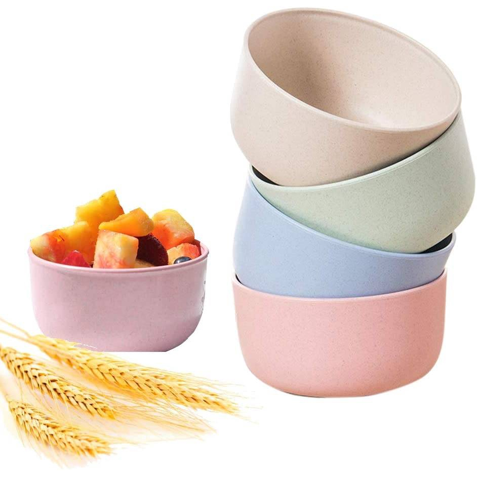 Healthy Wheat Straw Plastic Noodle Soup Rice Salad Bowl 2 Pack Eco-friendly Popcorn bowl with Spoons for Kids Children