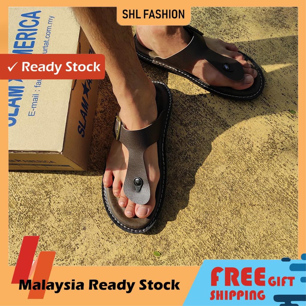 SHL Men PU Leather Sandal Premium Selipar Kasut Lelaki size 6-10【男士拖鞋】-656