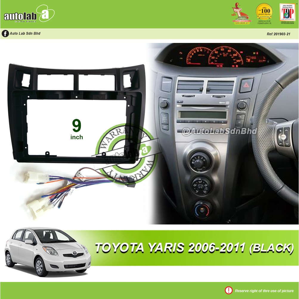 """Android Player Casing 9"""" Toyota Yaris 2006-2011 (Black) with Socket Toyota CB-8"""