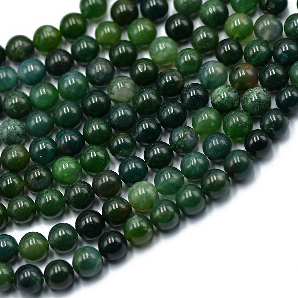 """12MM GREEN MOSS AGATE GEMSTONE ROUND LOOSE BEADS 15/"""""""
