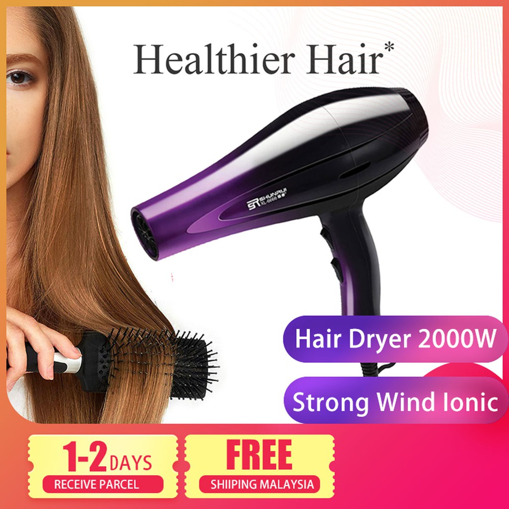 Ready Stock ????Delly Fashion Professional Hair Dryer 2000W Strong Wind Ionic Travel Hair Style Dryer Xl-8888-Purple Black