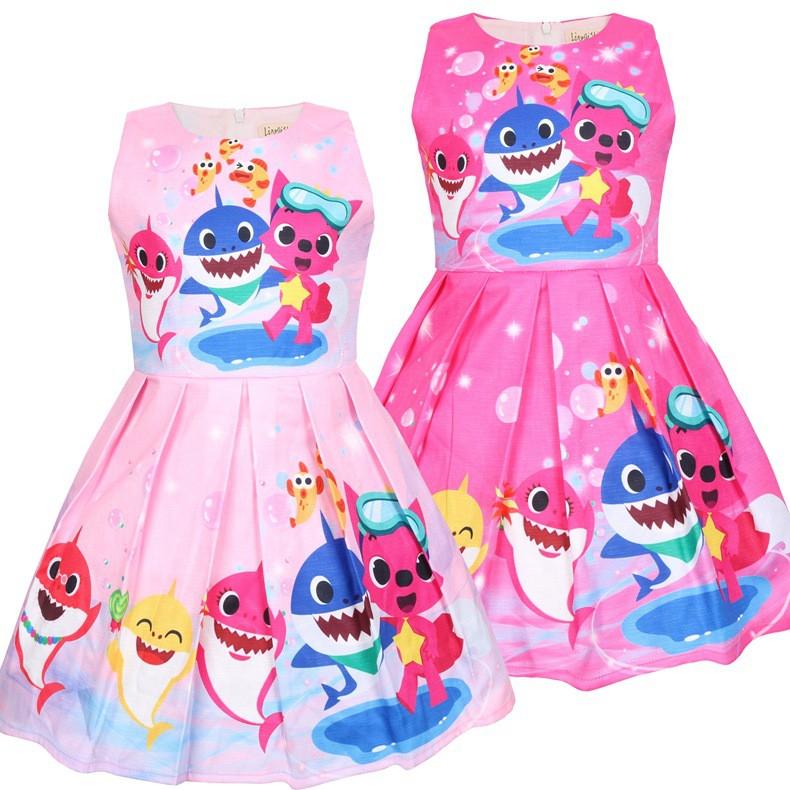 Toddler Girls Summer Princess Dresses Baby Shark Dress For Girls