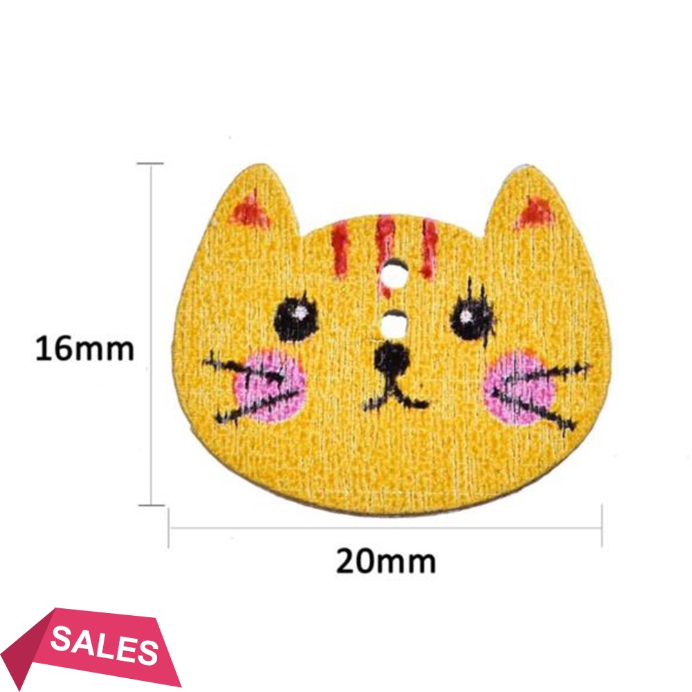 Cats Wooden Button Cat Picture Two Holes Vintage Style Small Wood DIY 15mm 20pcs