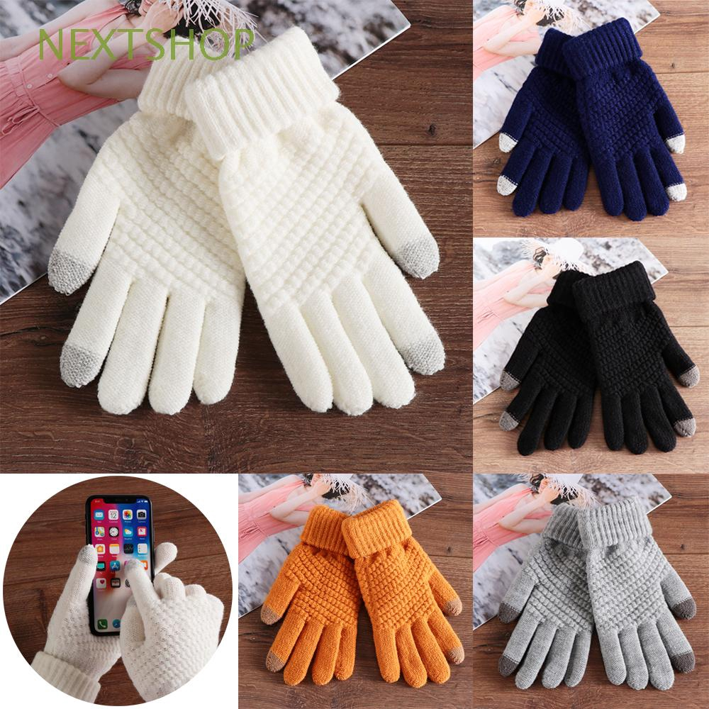 Winter warm Woolen thicken knitted wool touch screen full finger Women gloves