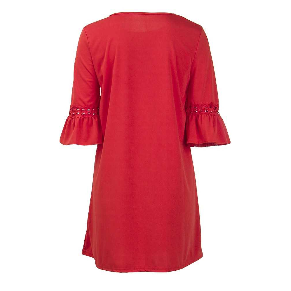 Fashion Women Mini Dress O Neck 3/4 Flare Sleeve Hollow Out Solid Color Casual Party Dress (Red)