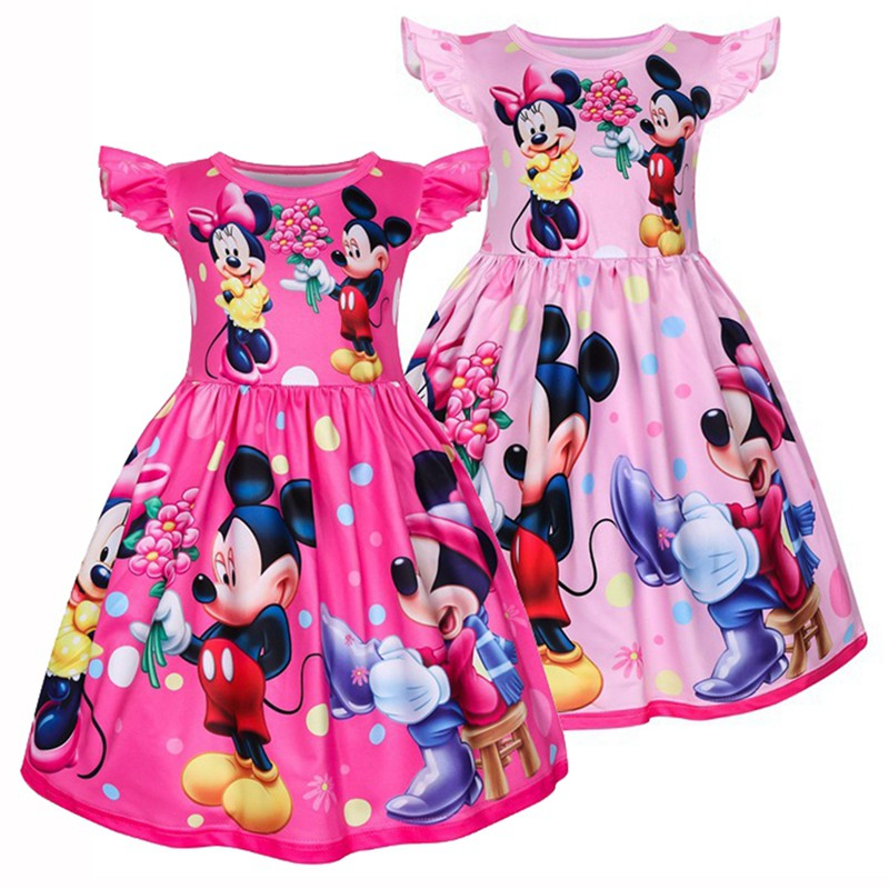 Disney Minnie Mouse Baby Girls Outfits Dresses Summer Birthday Party Kids Dress