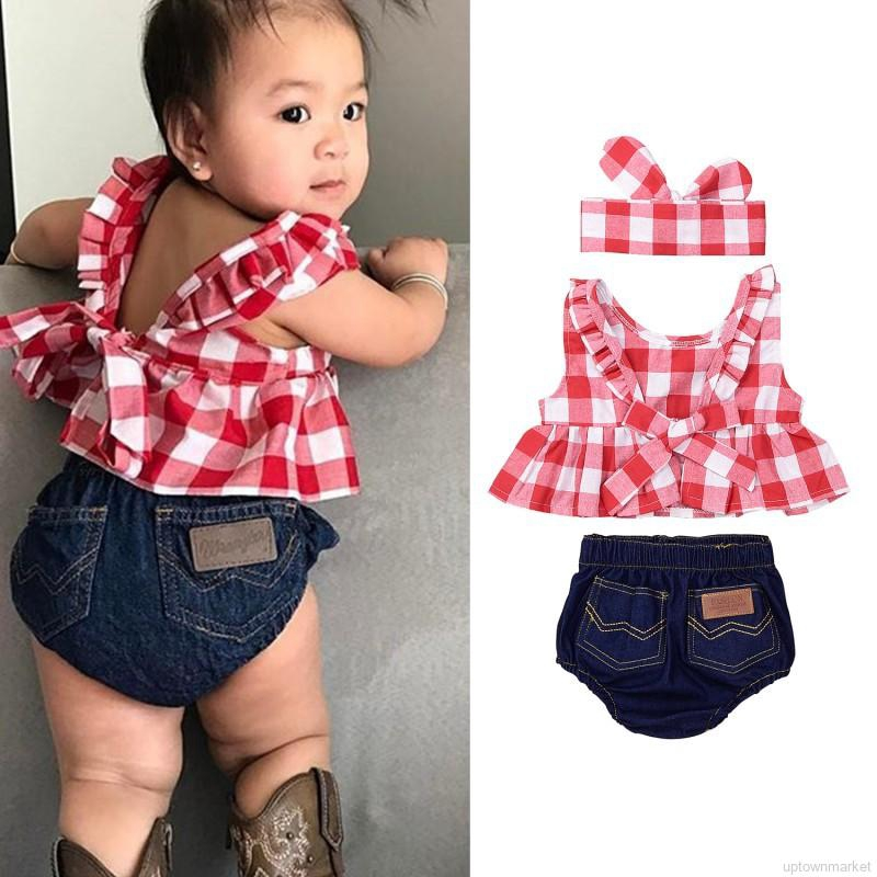 3PCS Toddler Baby Girls Summer Outfits Floral Tops Denim Shorts Headband Sunsuit