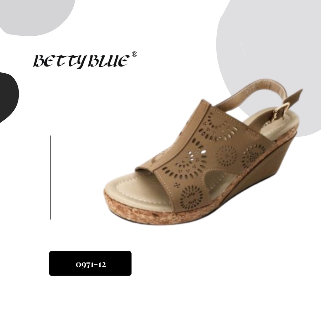 Betty Blue Women's Khaki Peep-toe Wedges Sling Back Sandals 0971-12