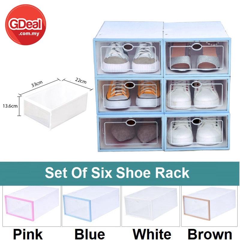 GDeal Set Of 6 PP Organizer Transparent Plastic Storage Box Foldable Clear Plastic Shoe Racks (22cm x 13.6cm x 33cm)