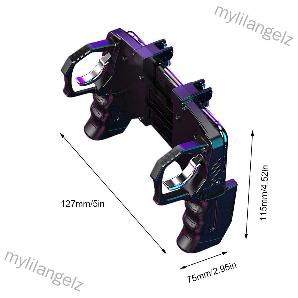 Mylilangelz K21 PUGB Helper 4 Finger Linkage Game Handle Peace Elite Fast Shooting Button Controller for PUBG Rules