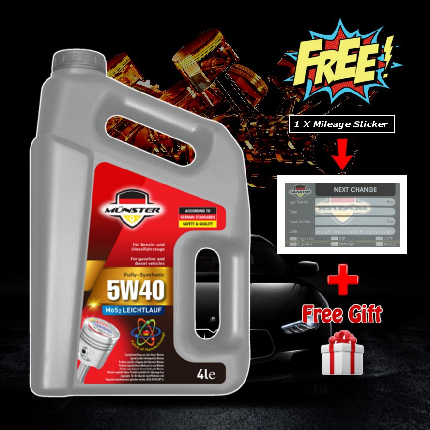 4L - Münster 5W40 API-SN Fully Synthetic Munster Engine Oil Lubricant (Free Mileage Sticker + Free Gift)
