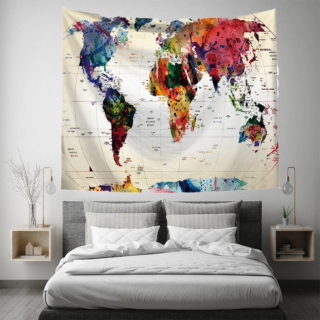 Indian Map Printed Tapestry  Wall Hanging Home Decor Mandala Blanket Bedroom Mat