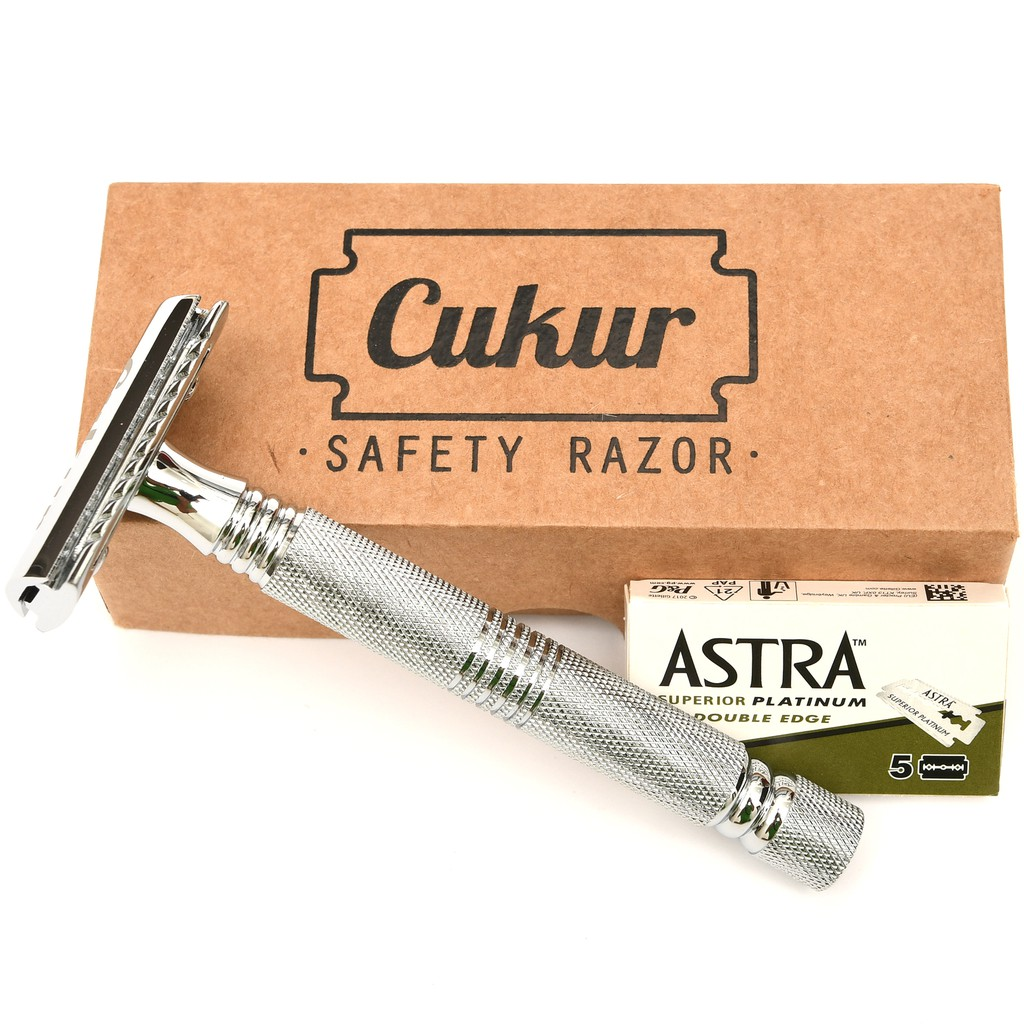 Cukur Double Edge Safety Razor - Long Handle + 5 Blades