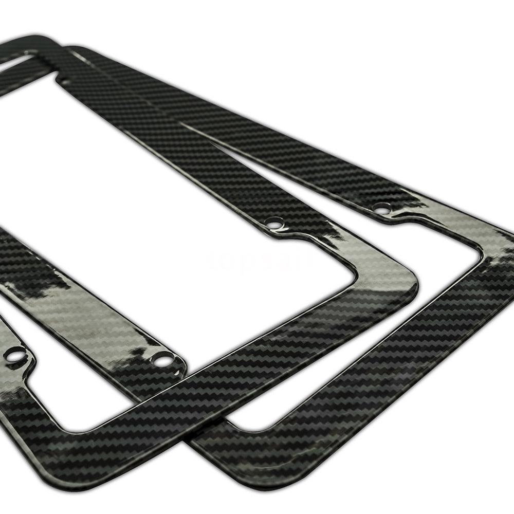 Carbon Fiber License Plate Frames Front and Rear Bracket 2 pcs Set