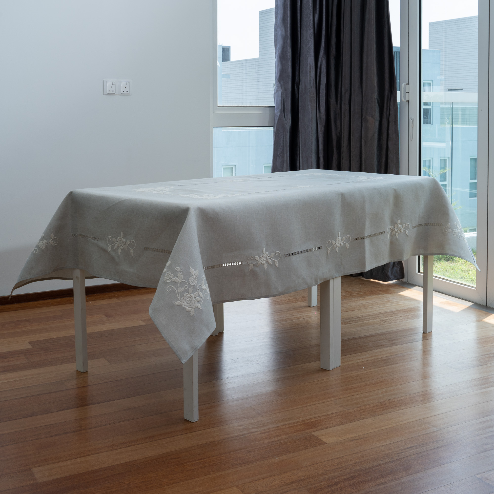 Rosie Grey with White Thread Embroidery And Hemstitches Tablecloth. Easy Care Cation Polylinen. Multi-Size. Rectangle, R