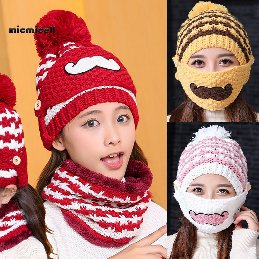 Kids Boy Girl Winter Warm Knitted Crochet Beanie Hat Face Mask Scarf Set Outdoor