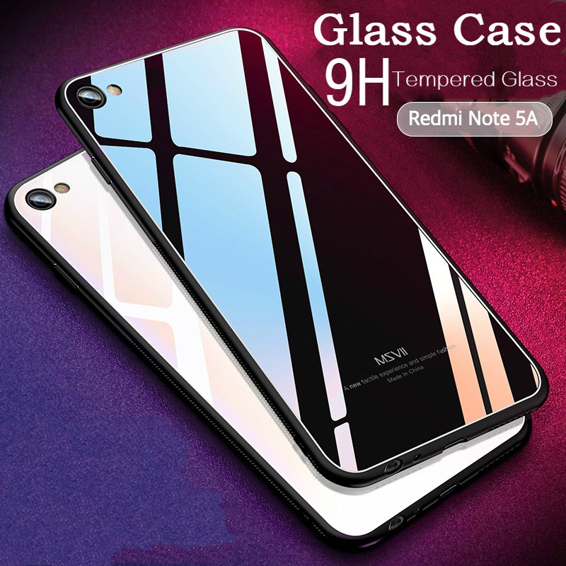 info for 1c996 5ecbb Xiaomi Redmi Note 5A case Tempered Glass Case Soft Frame Luxury Glass cover