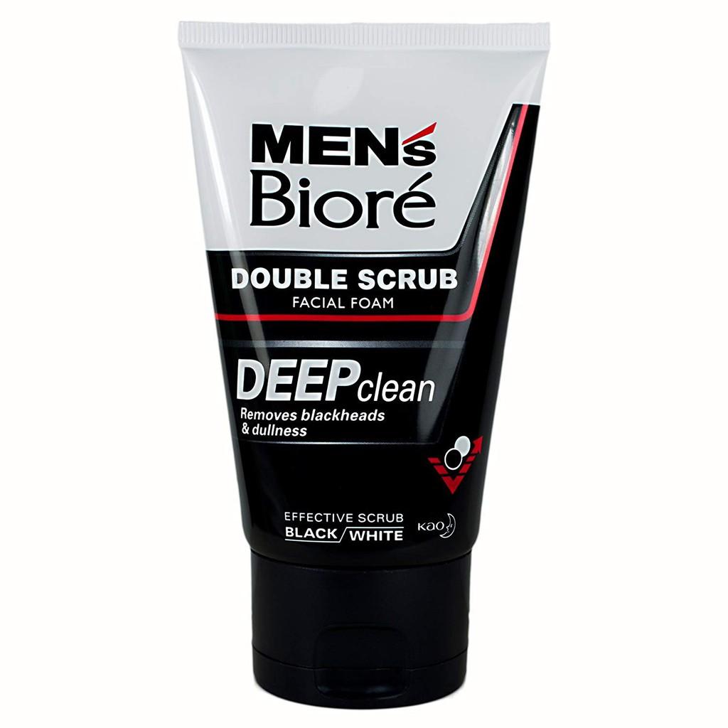 Men\'s Biore Deep Clean Double Scrub Facial Foam 100g