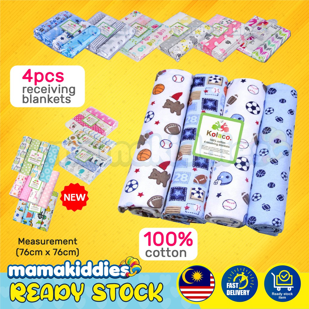 4 Pcs Mamakiddies Baby Bedung Bayi Receiving Blanket Muslin Cotton Baby Blanket Swaddle Flannel Baby Wrap Kain Lampin Shopee Malaysia
