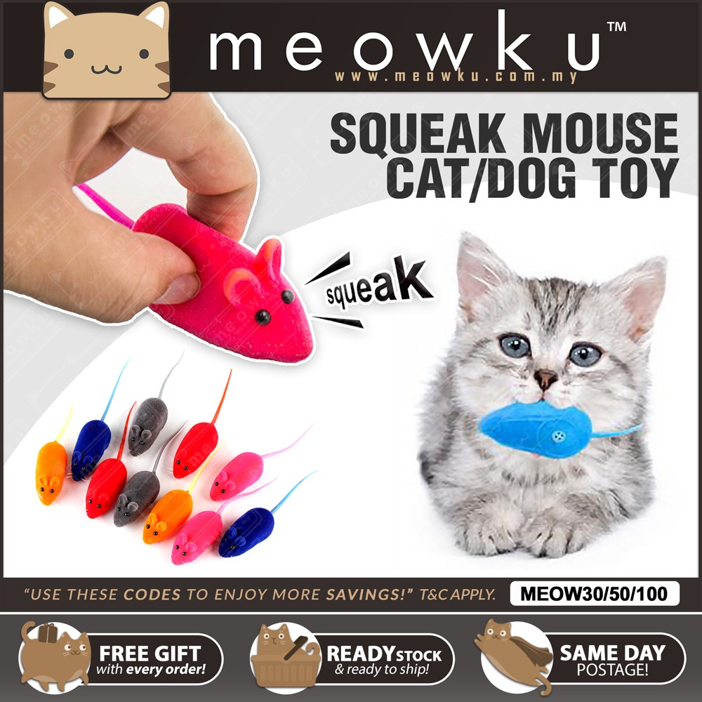 READY STOCK 🐱 Cat Toy Mice Rubber Mouse Squeak Sound (Mainan Kucing Pet Dog) | Shopee Malaysia