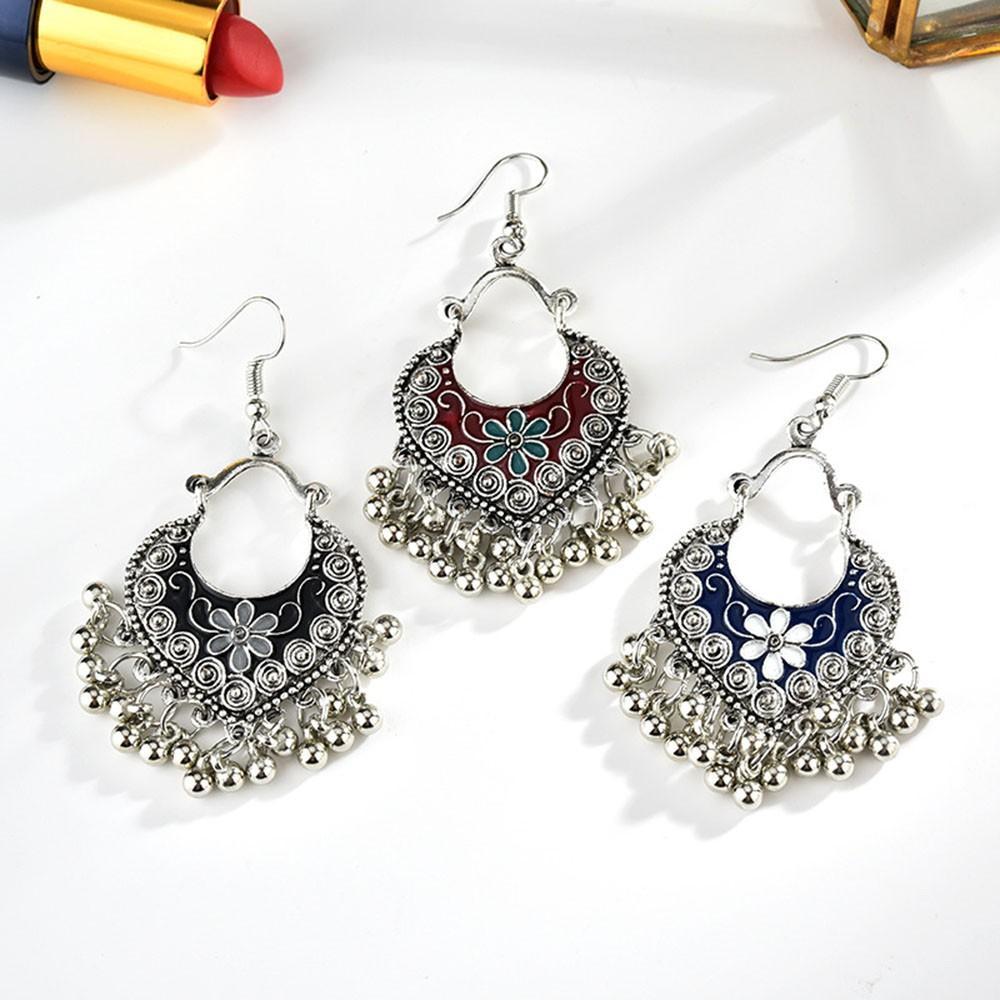 1 Pair Vintage Women Crystal Circle Knot Ear Stud Boho Dangle Earrings Jewelry