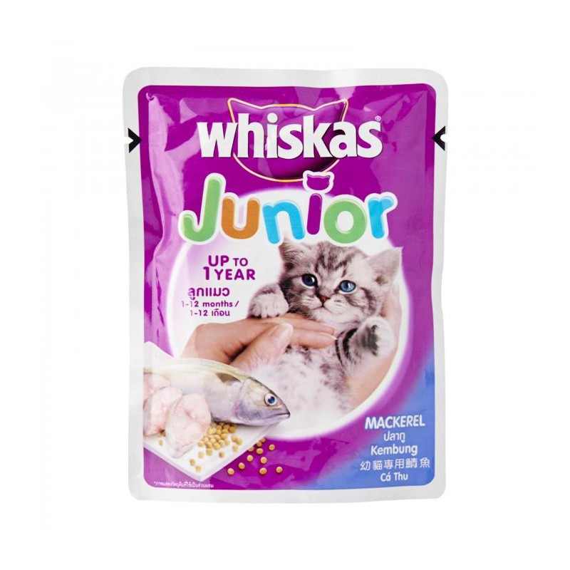Whiskas Junior Mackarel Pouch Food for Kittens & Young Cats 85g X 6