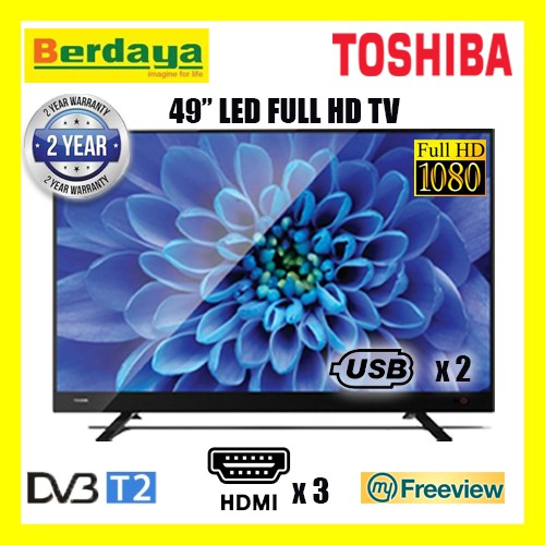 "(LockDown Clearance)Toshiba 49"" Inch DBVT2 LED FULL HD Backlighted TV - 49L3750VM"