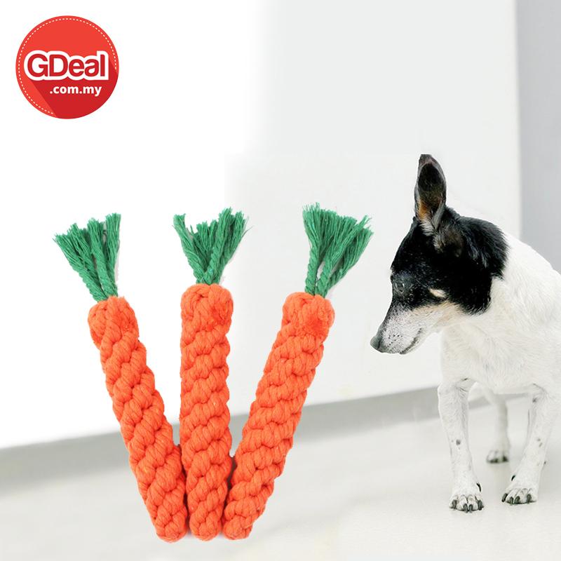 GDeal Eco Friendly Pets Teeth Bite Hemp Rope Pet Carrot Shape Toy Molar Stain Remove Toys Permainan Gigi Untuk Anjing