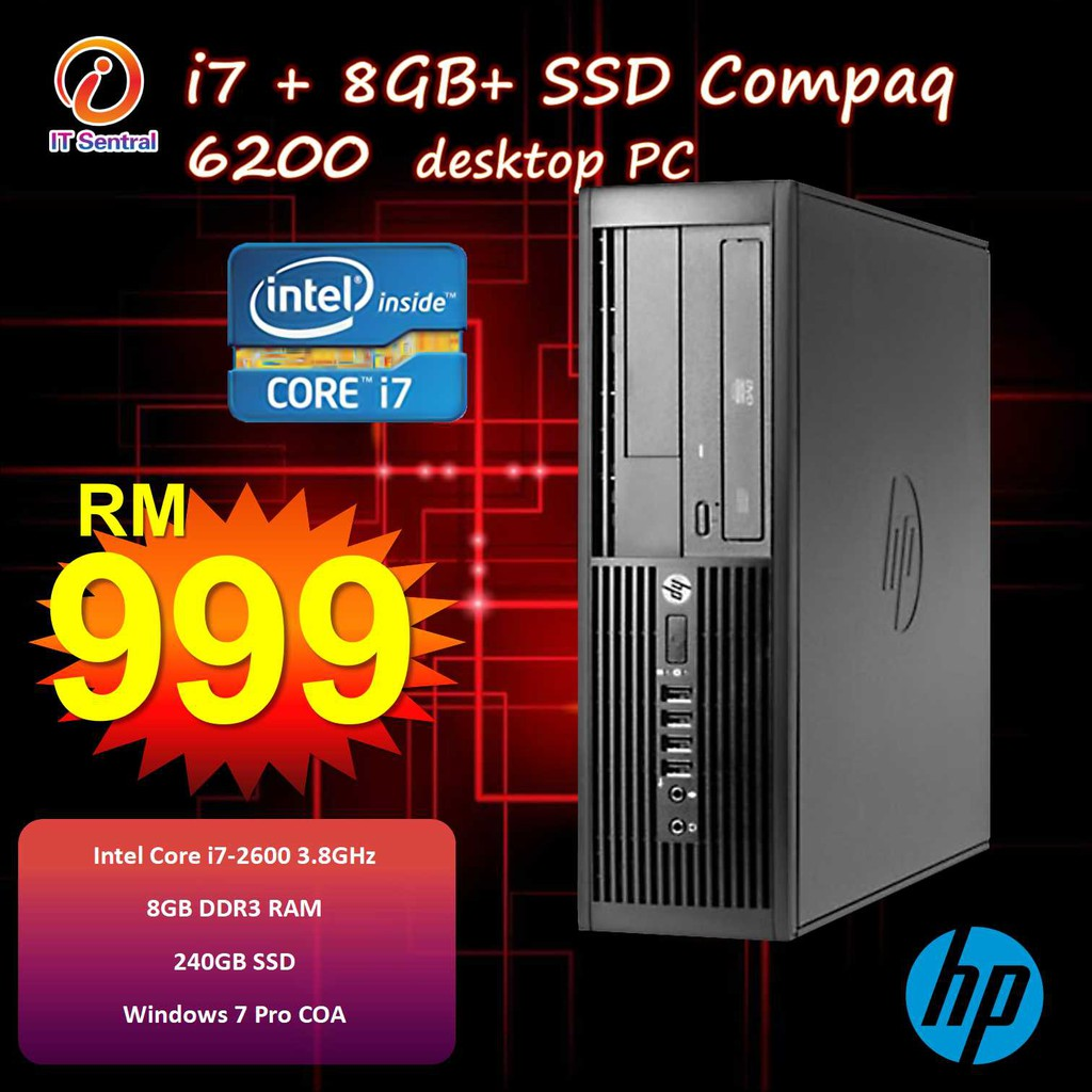 Fully refurbished Core i7 240GB SSD HP Compaq 6200 desktop PC office school  use