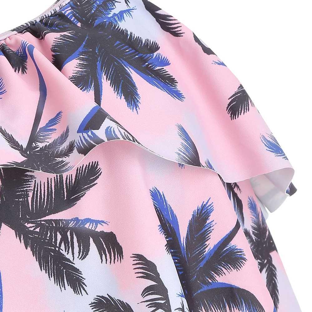 Coconut Palm Flounce Halter Bikini Set (Black)