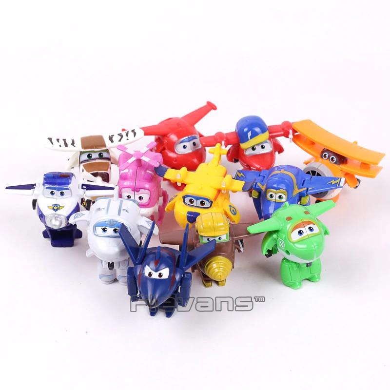 Super Wings Planes Toys Deformation Airplane Robots Donnie Dizzy Mira Jett 8Pcs