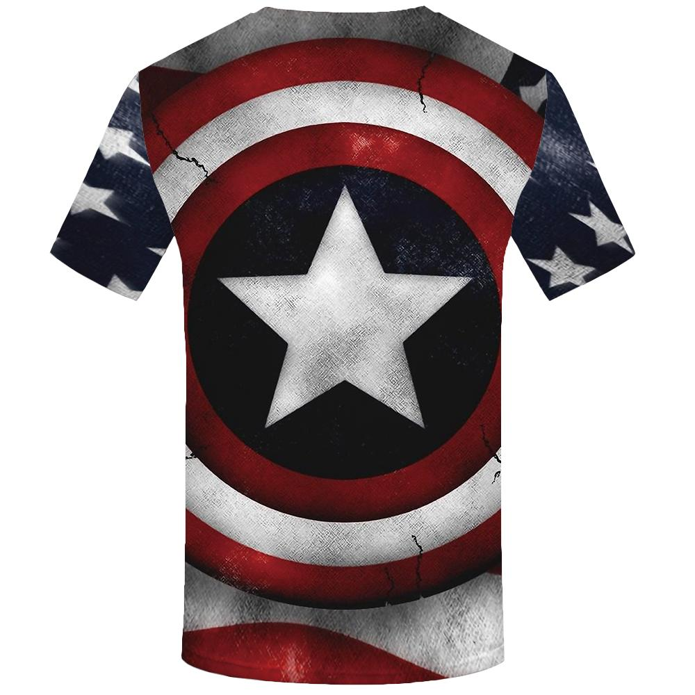9b54a2c1c939 KYKU Brand Captain America T shirt Men Shield Tshirt 3d Usa Tshirts Printed  Star