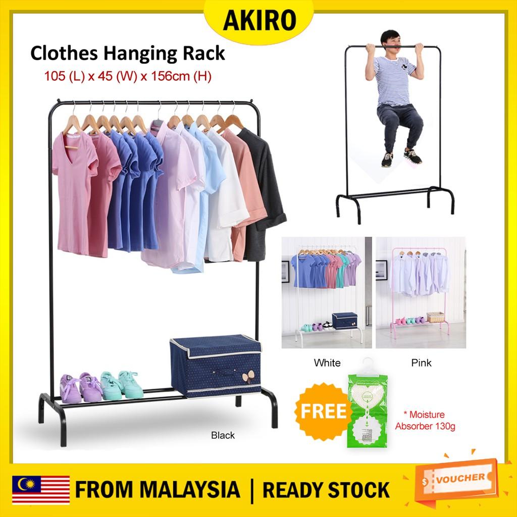 AKIRO 2 in 1 DIY Wardrobe Stainless Steel Organizer Storage Hanger Cloth  Rack