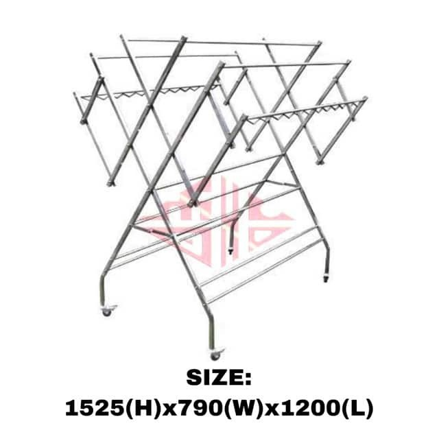 Extra Big Stainless Steel outdoor foldable clothes hanger drying rack ampai baju