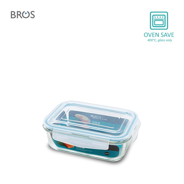 BROS Glass Container Click-In Rectangular (1000ml)