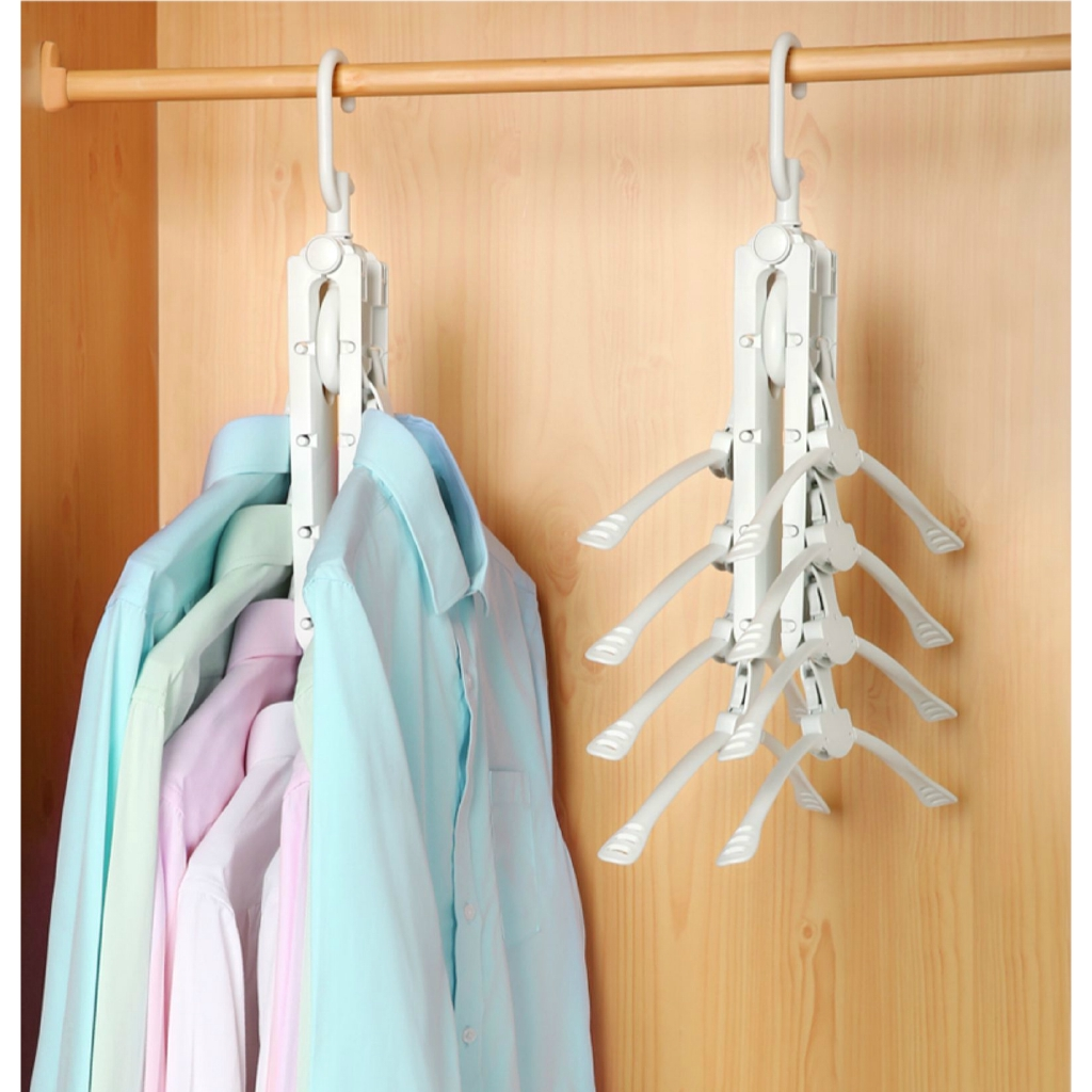 Multifunctional Clothes Hanger Storage Hanging Rack Creative Space Saving  Folding Drying Rack 8 Clothes Hangable | Shopee Malaysia