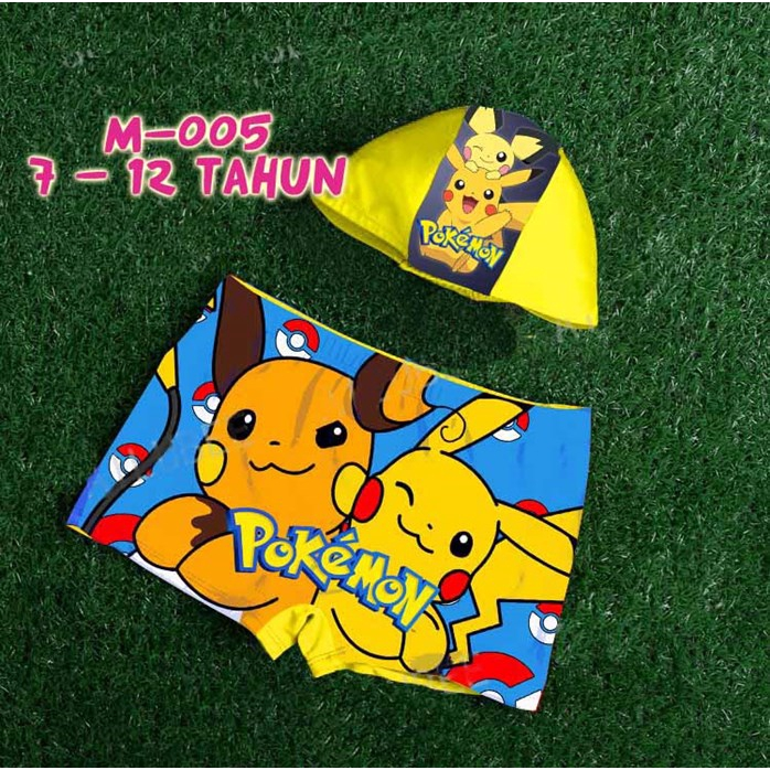 READY STOCK BM] SET SELUAR+TOPI RENANG M-005 POKEMON Kids Disney Swimsuit (7T - 12T)
