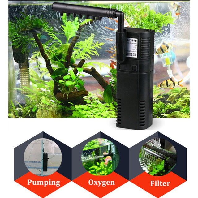Aquarium Fish Tank 3 in 1 Oxygen Water Pump Aquatic Internal Filter | Shopee Malaysia