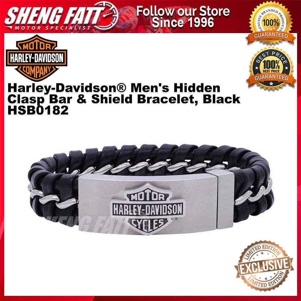 Harley-Davidson® Men's Hidden Clasp Bar & Shield Bracelet, Black HSB0182 size 8