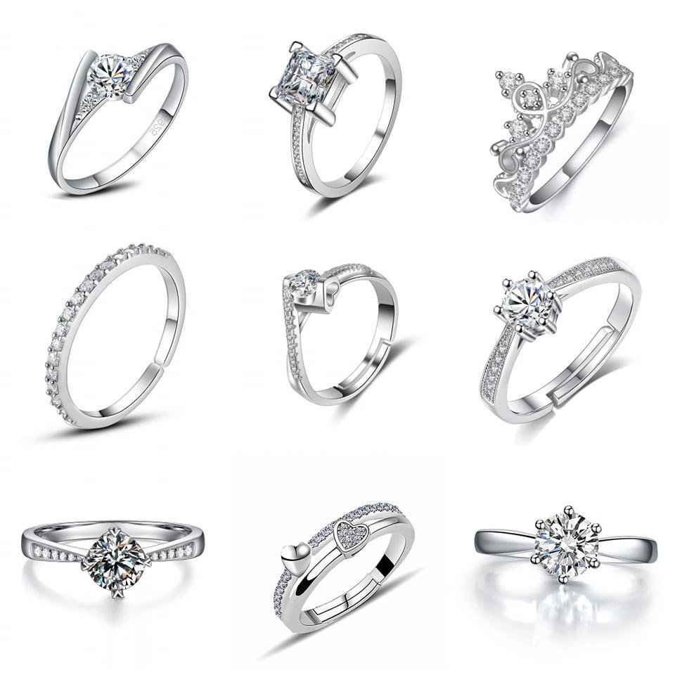 8c2612626e69d S925 Silver Rings For Ladies Women Girl Zircon Crystal Fashion Girl Cincin  Perempuan Permata Crystal