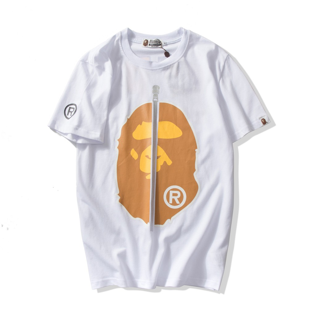 Men/'s Zipper Cartoon Bape Giant Logo Sports Hip-hop A Bathing Ape T-shirt NEW