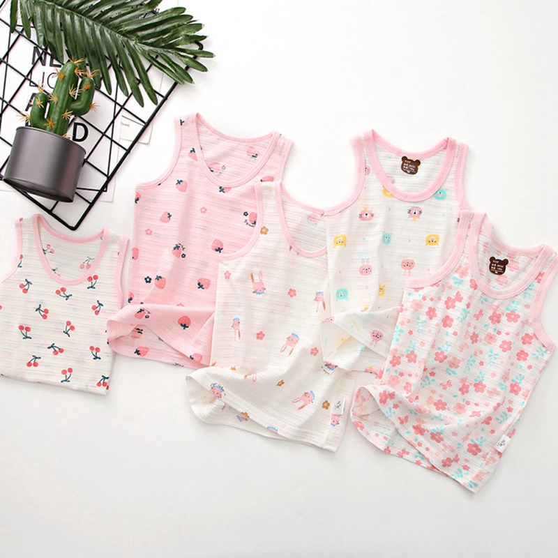Girls Summer Floral Tanks Tops Girl Underwear Cotton Soft Camisole Baby  Undershirt Teenager Singlets   Shopee Malaysia